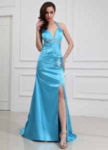 Aqua Blue High Slit Beading Halter Prom Dress Brush Train