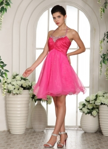 Mini-length Prom Homecoming Dress Hot Pink Halter Straps