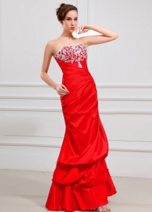 Taffeta Prom Dress Red Lace Decorate Strapless A-Line