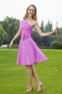 One Shoulder Lavender Dama Dress Knee-length Chiffon Ruch