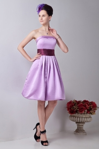 Sash Dama Dress Lavender A-line Knee-length Strapless