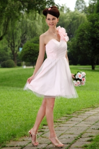 Handle Flowers Dama Dress Light Pink One Shoulder Mini