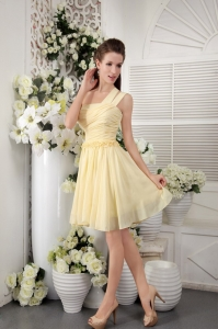 Asymmetrical Short Dama Dress Light Yellow Chiffon Pleat