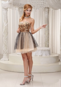 Leopard Tulle Homecoming Cocktail Dress Sweetheart Mini-length
