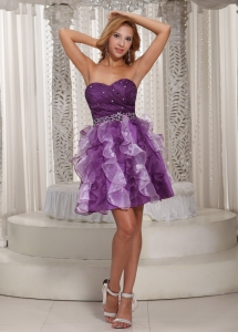 Homecoming Cocktail Dress Eggplant Purple Ruffles Beaded
