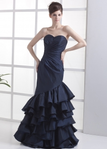 Mermaid Prom Dress Layers Navy Blue Sweetheart Ruch