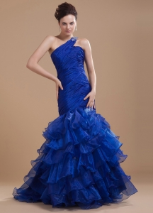 Mermaid Prom Dress Royal Blue One Shoulder Ruffled Layers