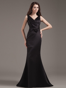 V-neck Straps Prom Dress Mermaid Black Bowknot