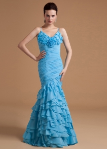 Aqua Blue Ruffles Prom Dress Chiffon Mermaid Straps Ruch