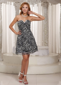 Leopard Homecoming Cocktail Dress Multi-color Mini-length