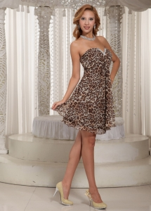 Leopard Mini Homecoming Cocktail Dress Multi-color V-neck