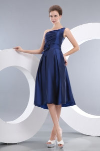 Handle Flowers Dama Dress Navy Blue One Shoulder Knee-length