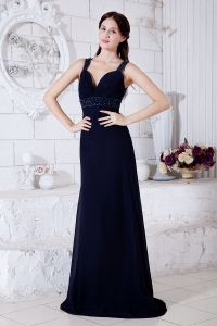 Straps Evening Pageant Dress Brush Train Navy Blue Beading