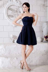 Princess Dama Dress Navy Blue Mini-length Ruched Taffeta