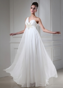 Empire One Shoulder Prom Dress With Beading Chiffon