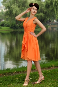 Orange V-neck Dama Dress Ruched Knee-length Empire