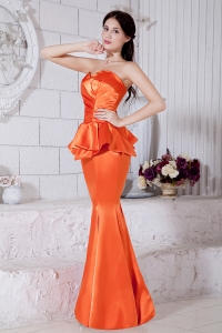 Mermaid Evening Pageant Dress Sweetheart Satin Ruch Orange