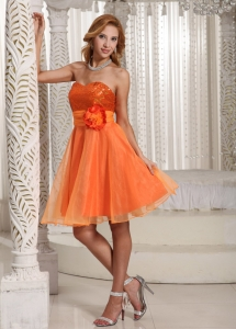 Organza Sequins Dama Dress Orange Handle Flower Sweetheart