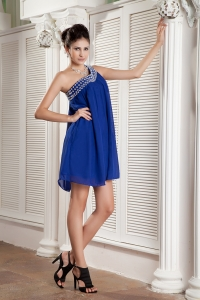Peacock Blue Dama Dress One Shoulder Beading Mini-length