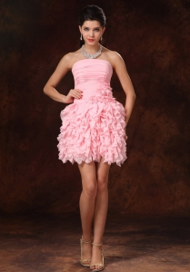 Ruffles Cocktail Holiday Dress Pink Hand Made Flowers