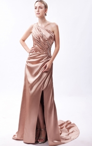 Court Train One Shoulder Prom Dress Brown Elastic Woven Satin