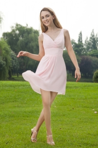 Mini-length Dama Dress Pink V-neck Empire Chiffon Ruch