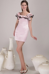 Square Cocktail Graduation Dress Mini-length Satin Ruch Pink