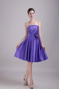Knee-length Dama Dress Purple Satin Hand made Flower