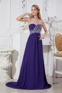 Court Train Evening Celebrity Dress Purple Sweetheart Bead