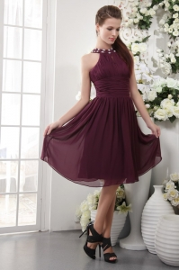 High-neck Dama Dress Purple Empire Knee-length Beading