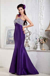 Beaded Celebrity Pageant Dress Mermaid Sweetheart Purple
