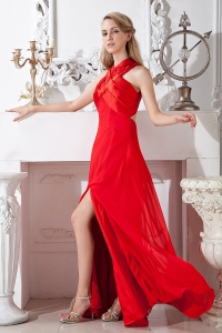 Red High Neck Prom Evening Dress Empire High Slit