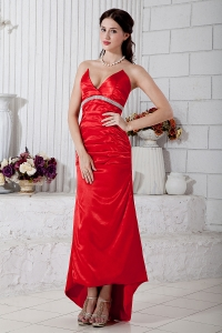 High-low Evening Celebrity Dress Red V-neck Satin Beading