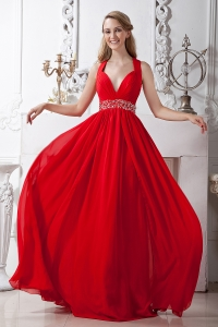 Red V-neck Brush Train Beading Prom Evening Dress