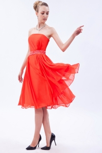 Beading Dama Dress Orange Red Strapless Knee-length