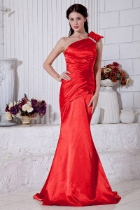 Red One Shoulder Evening Celebrity Dress Mermaid Brush Train