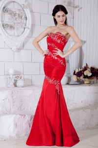 Appliques Evening Pageant Dress Red Mermaid Sweetheart