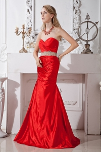 Mermaid Sweetheart Evening Celebrity Dress Red Beading