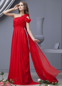 One Shoulder Watteau Train Red Prom Dress Handle Flowers