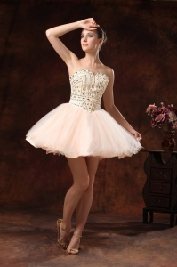 Cocktail Homecoming Dress Baby Pink Mini-length Rhinestones