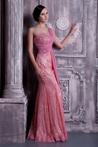 One Shoulder Prom Celebrity Dress Rose Pink Beading Chiffon