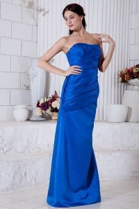 Satin Evening Pageant Dress Royal Blue Brush Train Ruch
