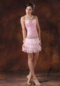 Sequin Tulle Cocktail Graduation Dress Baby Pink Mini-length