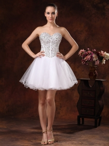 White Cocktail Homecoming Dress Beaded Mini-length