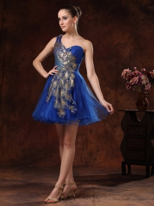 One Shoulder Cocktail Homecoming Dress MiniRoyal Blue