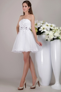 Appliques Cocktail Holiday Dress White Mini-length