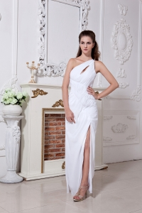 White One Shoulder Prom Evening Dress Chiffon Ruch Slit