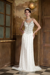 Celebrity Evening Dress White Brush Train Beading Straps