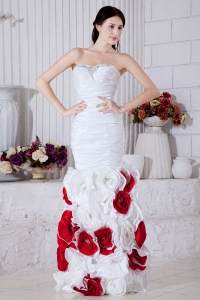 Mermaid Evening Pageant Dress White Red Handle Flowers
