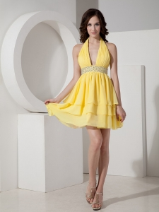 Halter Homecoming Dress Mini-length Chiffon Beading Yellow